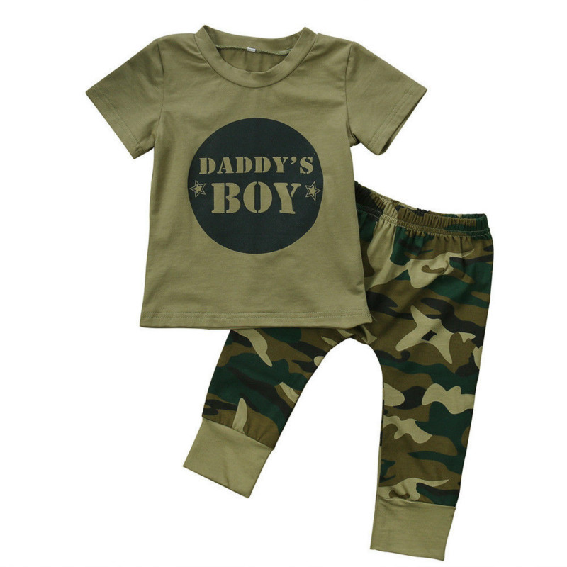 New Hot Sale Newborn Toddler Baby Boy Girl Summer Cool Costume T-shirt Short Sleeve Tops Camo Pants Leggings Outfits Set Fashion newborn toddler baby boy girl camo t shirt tops pants outfits set clothes 0 24m cotton casual short sleeve kids sets