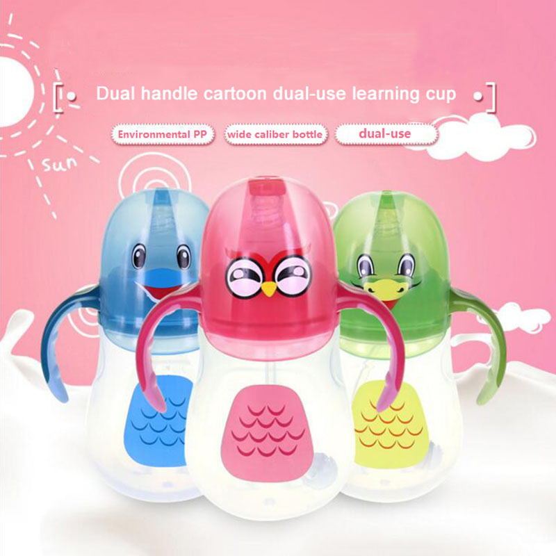 280ml Cartoon Dual Handle Baby Feeding Bottle Infant Drinking Milk And Fruit Juice Drinkware With Straw Water Cup Mamadeira