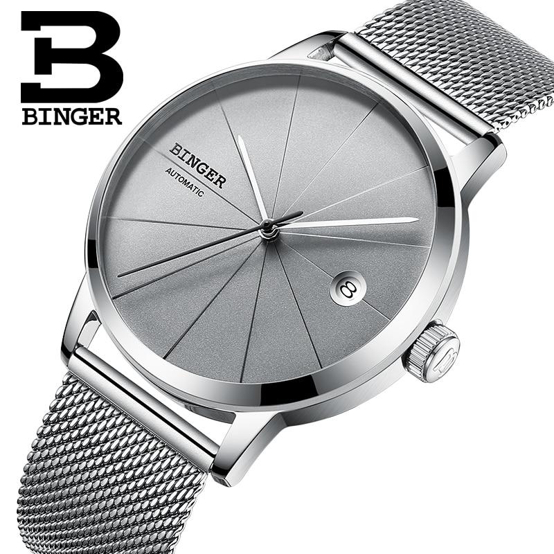Genuine Swiss BINGER Brand Men full steel automatic mechanical male self-wind simple creative casual ultrathin watch calendar đồng hồ binger bg54