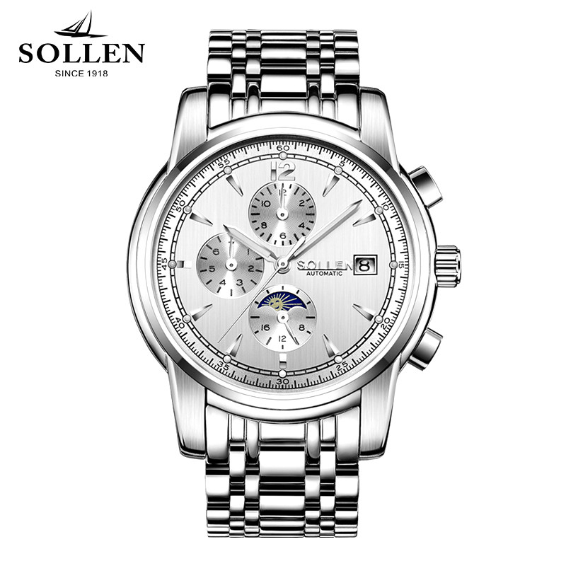 loreo design multi function automatic mechanical big watches full steel atmos army clock men s watch christmas gift with box a37 SOLLEN Watches Men Famous Brand Luxury Multi Function clock automatic mechanical Watch Waterproof Full Steel Male WristWatch