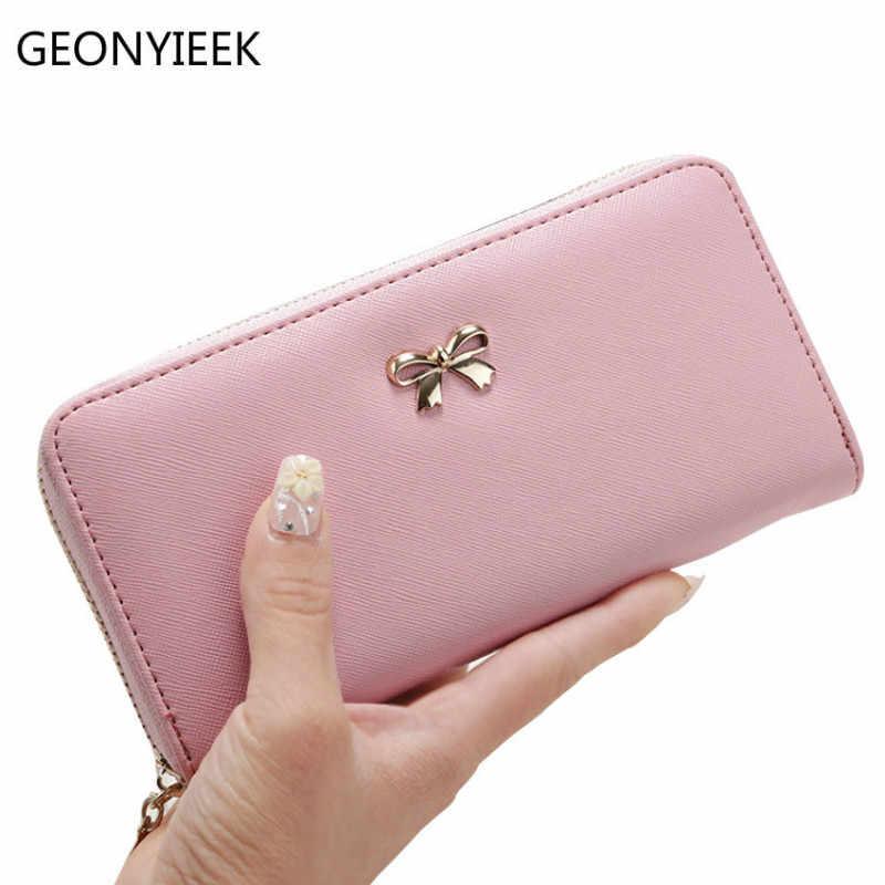 51dd5a14d0dc4 2018 Women Long Clutch Wallets Female Fashion PU Leather Bowknot Coin Bag  Phone Purses Famous Designer