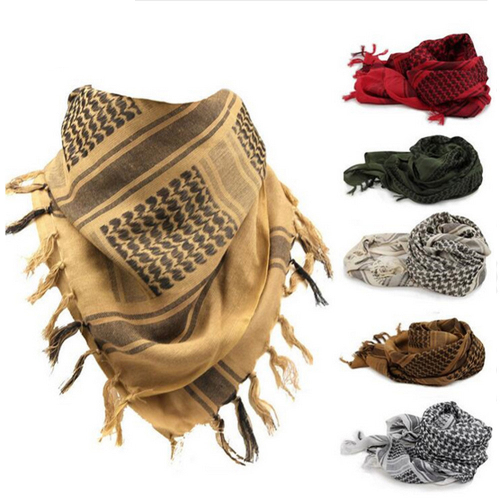 100% Cotton Thick Muslim Hijab Shemagh Tactical Desert Arabic Scarves Men Or Women Winter Windy Military Windproof Scarf