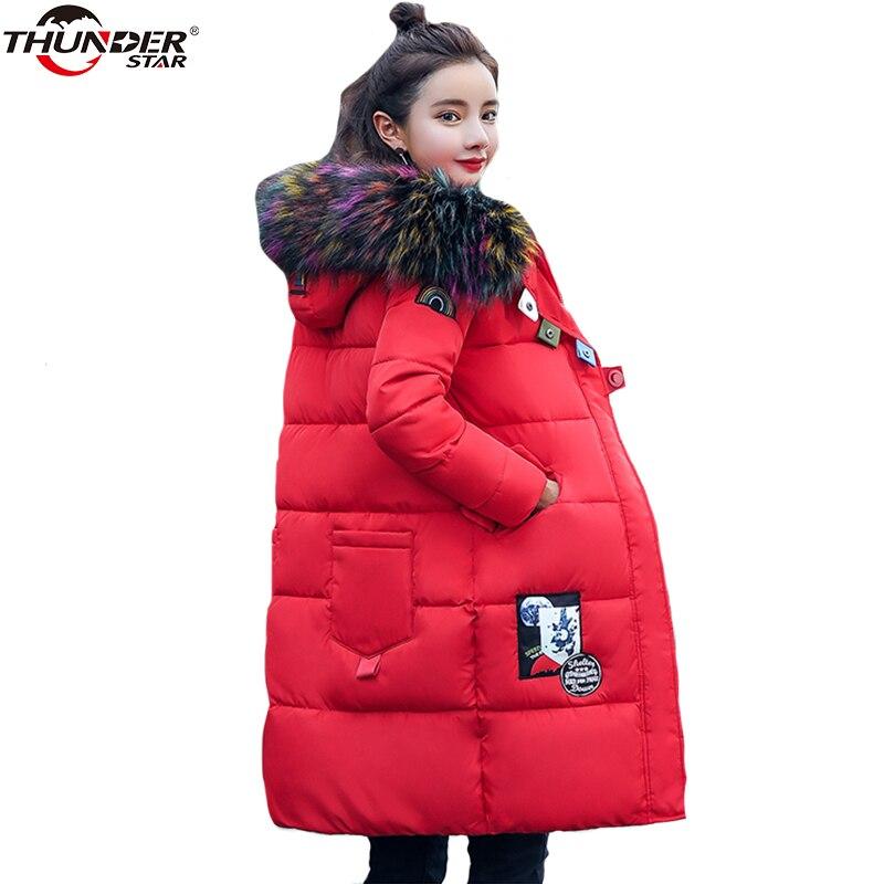 White Duck   Down     Coat   Women 2018 Autumn Winter Big Fur Hooded Thick Slim Long Jacket   Coat   female Warm Outerwear Overcoat