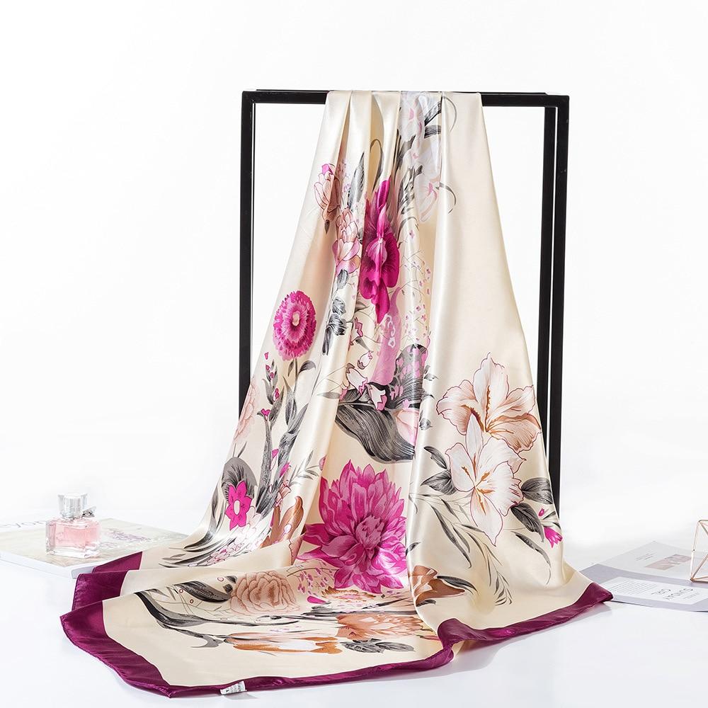 2019 Silk Scarf Fashion Foulard Satin Shawl Scarf Big Size 90*90cm Square silk Hair/Head Scarves Women bandana Large Hija(China)