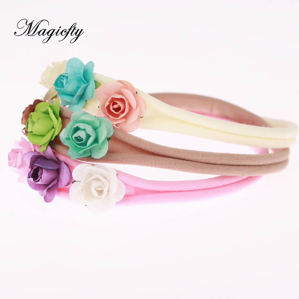 Princess mini rose Flower Crown Headband girl rosette Flower Headbands Newborn Photo Prop Bridal hair Accessories 1pcs metting joura vintage bohemian green mixed color flower satin cross ethnic fabric elastic turban headband hair accessories