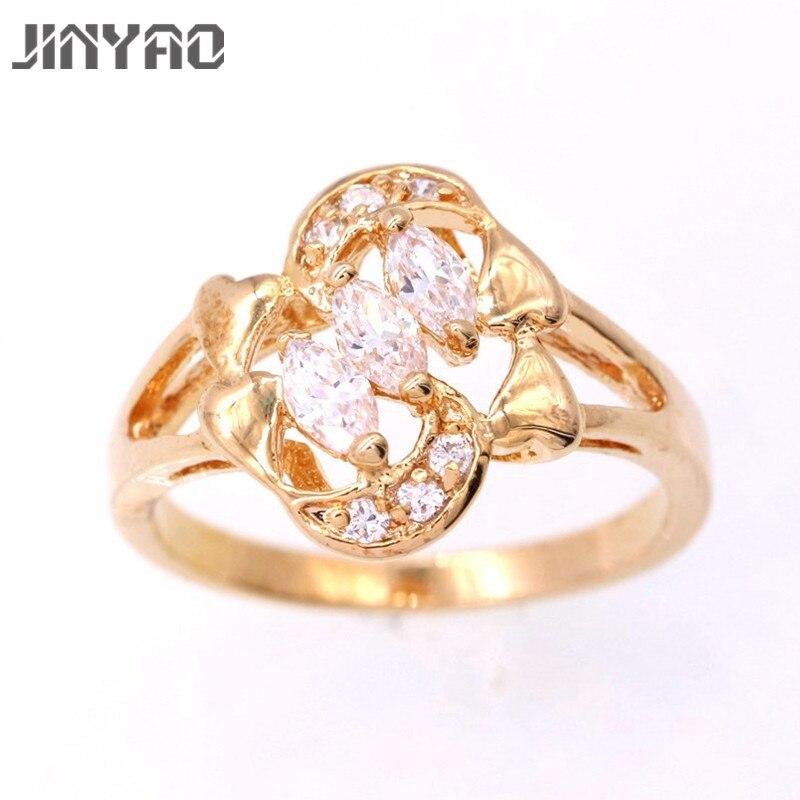 Jinyao новые модные женские Обручальные кольца изделия из розового золота Цвет Обручение кольцо для Для женщин CZ камнем обещание Кольца k09-2