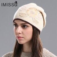 IMISSU 여성 겨울 모자 니트 양모 Skullies 캐주얼 모자 꽃 패턴 Gorros 두꺼운 따뜻한 비니 모자 여성