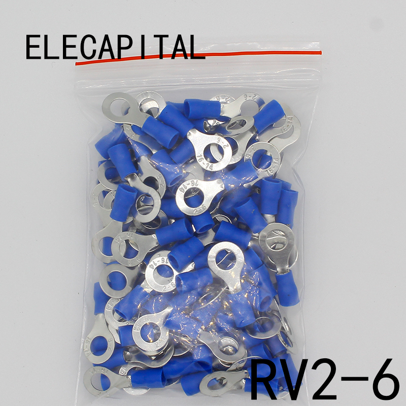 RV2-6 Blue Ring insulated terminal Cable Wire Connector 100PCS/Pack suit 1.5-2.5mm Electrical Crimp Terminal RV2.5-6 RV 50pcs 100pcs rv2 6 ring insulated terminal cable wire connector electrical crimp terminal