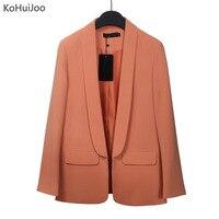 KoHuiJoo 2019 Ladies Spring Eleagnt Office Blazers for Women Slim Lapel Collar Long Sleeve Business Blazer Jacket Female Yellow