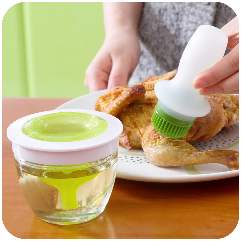 Home high temperature silicone oil brush barbecue BBQ brush oil bottle suit kitchen baking oil brush silicone brush