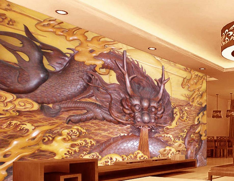 Customize 3d wall murals home decor dragon wood carving 3d for 3d wallpaper for home wall bangalore