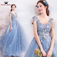 A line Tulle Lace Beaded Crystal Formal Elegant Blue Long Evening Dresses Evening Gown 2018 New Fashion Party Gowns Dress SU27