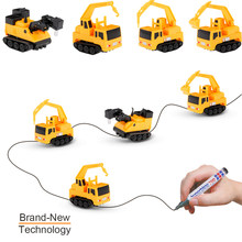 4Pcs Kids Chirldren Magic Toy Truck Inductive Car Magia Excavator Tank Construction Cars Pen Draw Lines Truck Toys for Kids Gift(China)