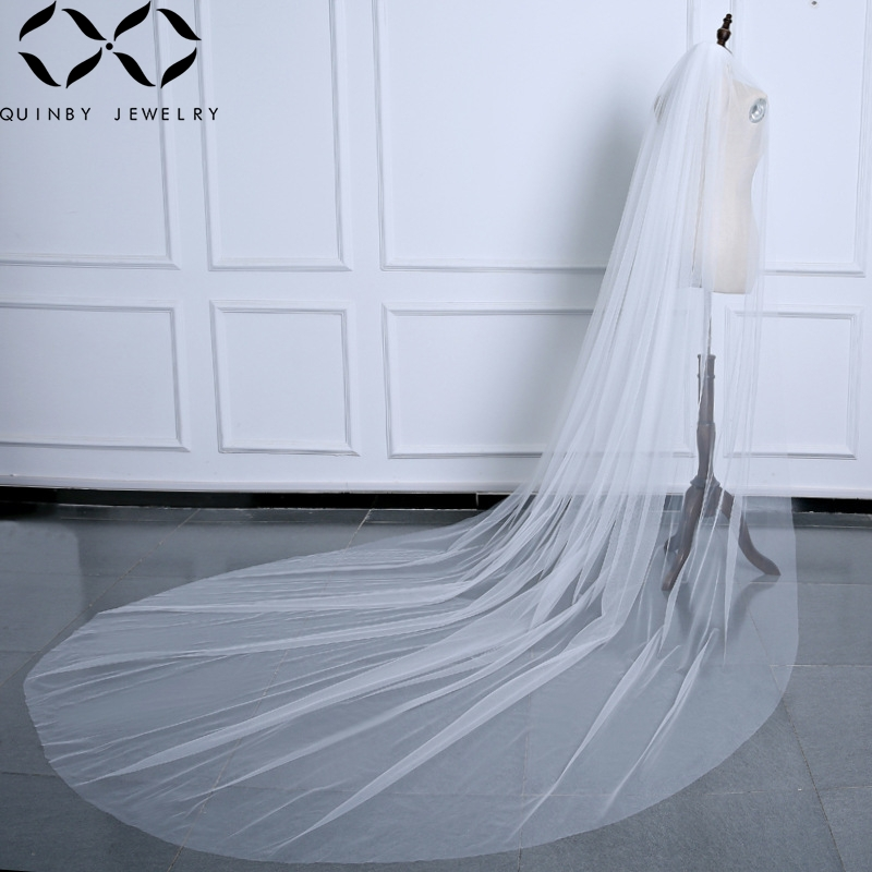 Quinby Bridal Veils Wedding Accessories Long Bridal Veil With Comb Ivory White Wedding Veil Lace Bridal Hairwear Veil Q5 in Bridal Veils from Weddings Events