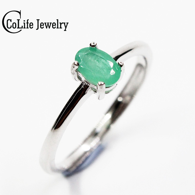 Promotion natural emerald wedding ring for woman 0.4 ct 4mm*6mm natural Colombian emerald solid 925 silver emerald gemstone ring