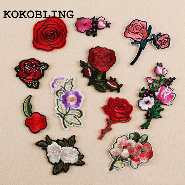 11pcs bag mixed cartoon flowers pattern patch computer embroidery