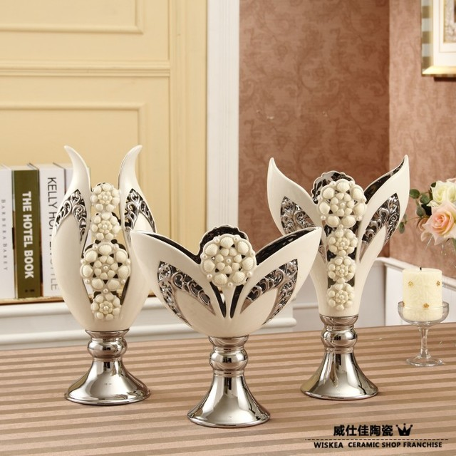 porcelain modern white vessels home decoration ceramic flower vases for home three pieces set free shipping
