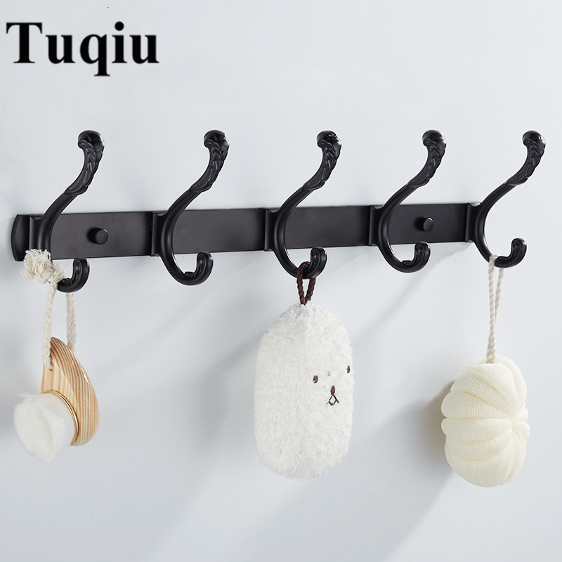 Black/White Wall Mounted Bathroom Robe Hooks 4-7 Row Hook Coat Hanger Door Hooks For Bathroom Accessories Kitchen hooks xueqin stainless steel 4 hooks coat hat clothes robe holder bathroom rack hooks wall hanger wall mounted bathroom accessories
