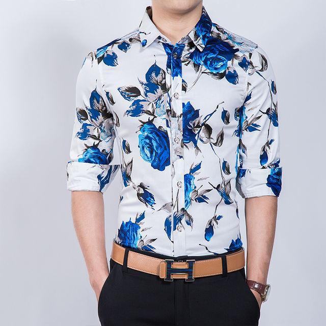 HCXY 2019 Spring Autumn Fashion Men's Casual Shirt Men Long sleeve Floral Printing Shirts Male Slim fit Plus Size 6XL 7XL