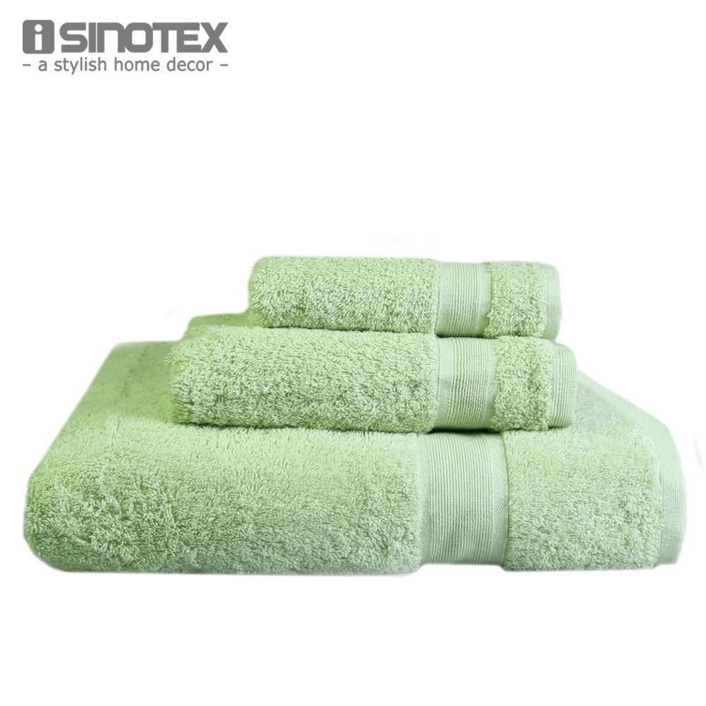 iSINOTEX Green Cotton Towels 3Pcs/set 33*33/40*60/69*139cm Bath Towel + Face Towel Set Adult Towels for Bathroom Toallas