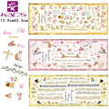 HOT025-027 KADS Cute Cat Beauty Letter Words and Notes Nail Sticker Fashion Girls Nail Art Water Transfer Decals for Tips