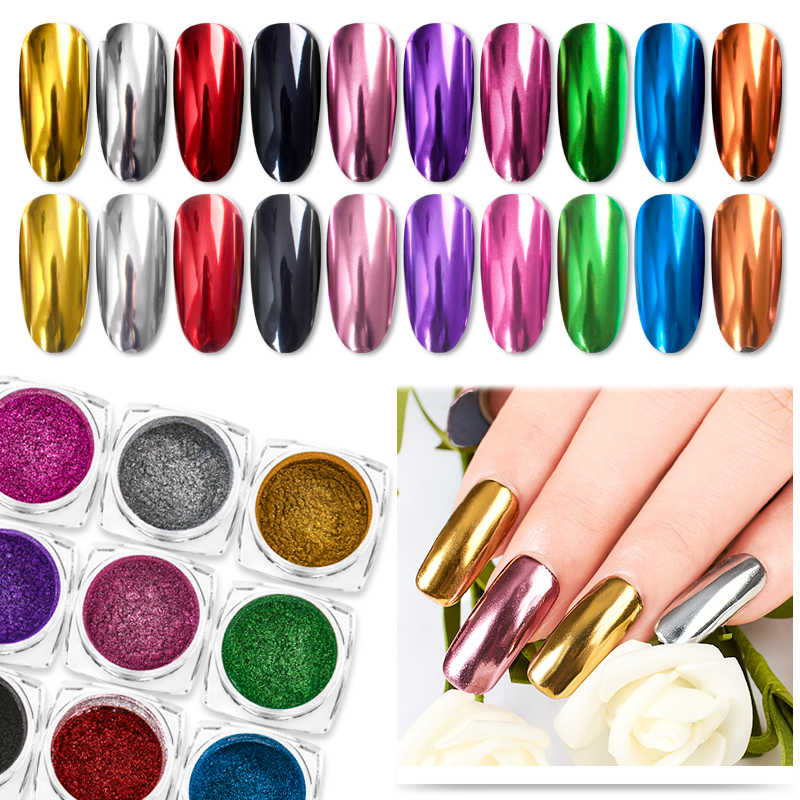 Nail Art Mirror Pigment Powder Shine Nail Glitters Metallic Color Nail Art UV Gel Polishing Rose Gold Silver Manicure Nail Art C