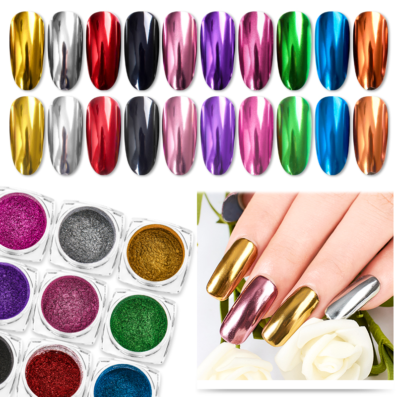 Nail Art Mirror Pigment Powder Shine Nail Glitters Metallic Color Nail Art UV Gel Polishing Rose Gold Silver Manicure Nail Art C-in Nail Glitter from Beauty & Health on Aliexpress.com | Alibaba Group