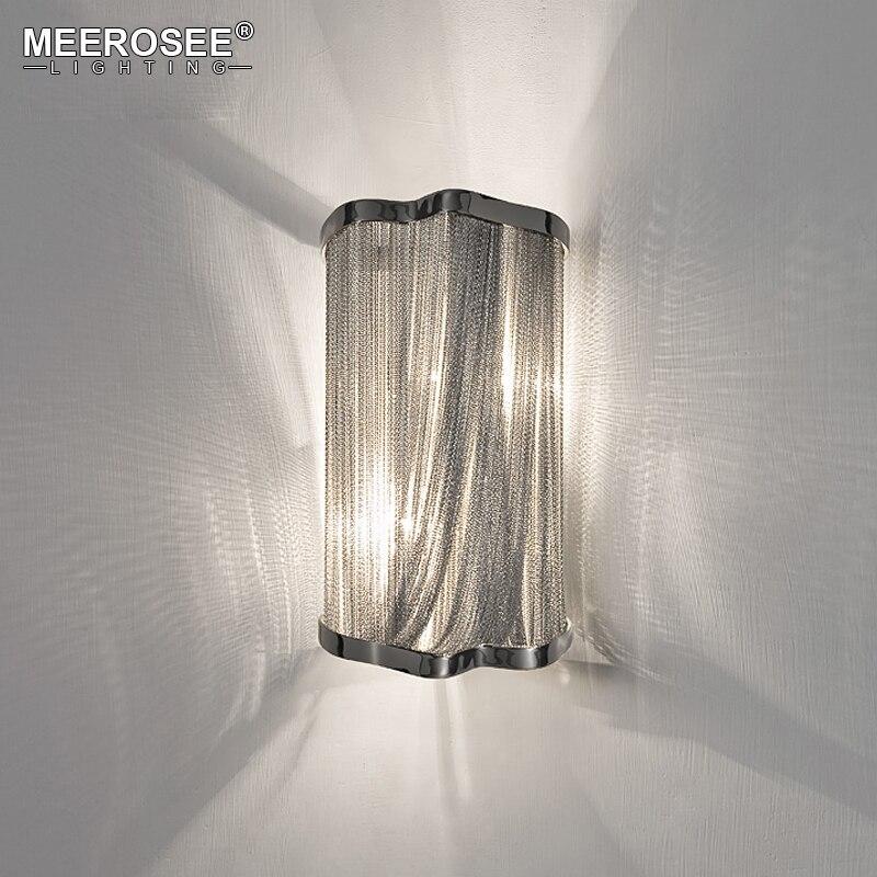現代アトランティスチェーンウォールライトアルミチェーンウォールブラケットライトシルバー壁 wandlamp ランパラ比べ廊下ポーチライト -