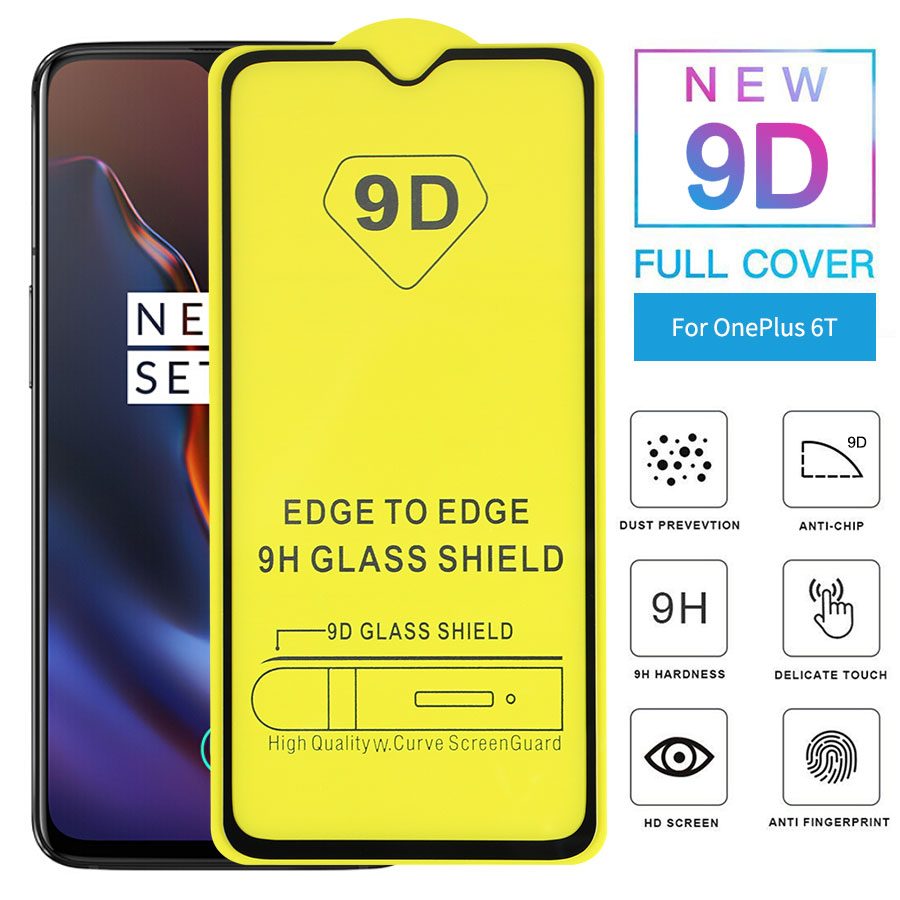 9D Full Glue Tempered Glass For Oneplus 7 6 6T 5T 9H HD Tempered Glass For Oneplus 5T 6T 3T Screen Protector Full Coverage Film