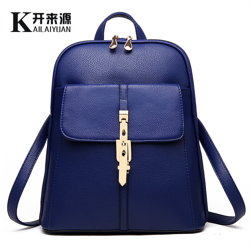 wholesale Fashion pu leather bag women backpack cute candy color shoulder bag rucksack girl schoolbag mochila