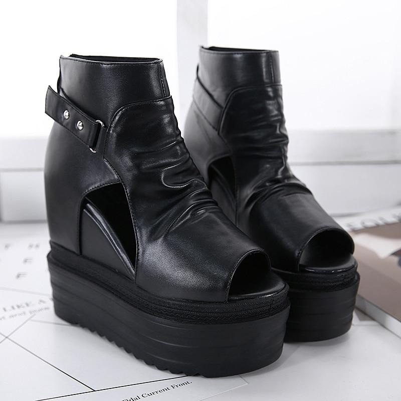 Zapatos Súper Grueso Boca Dentro De Aumento Plataforma Simple Los Pescados Sandalias Negro Impermeables Cuña Inferior Clásico Altos Muffin Tacones 8aq0F6w
