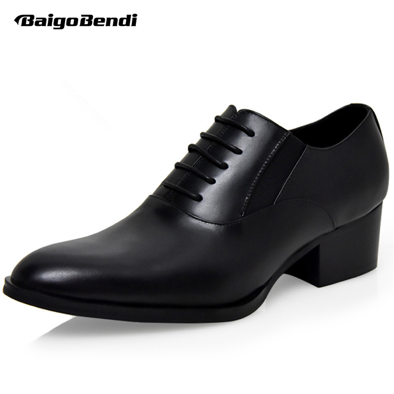 Hight End Full Grain Leather Men Lace Up High Heel Shoes Man Thick Heel Black Formal Dress Height Increasing Heighten Shoes hight end full grain leather men lace up high heel shoes man thick heel black formal dress height increasing heighten shoes