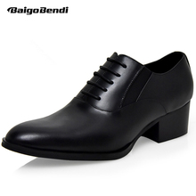 Hight End Full Grain Leather Men Lace Up High Heel Shoes Man Thick Heel Black Formal Dress Height Increasing Heighten Shoes цены онлайн