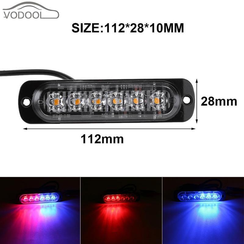 12V-24V 6LEDs Slim Mini High Power Flash Light Bar Truck Auto Car Vehicle Emergency Warning Strobe Lamp Red Blue Traffic Light