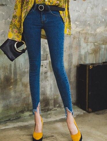 Pantalones Vaqueros De Lavado Skinny Lápiz Tobillo Longitud Casuales Bolsillos Botón Blue Mujer Natural Cintura La Suavizante Del Ripped g4wnRxdq