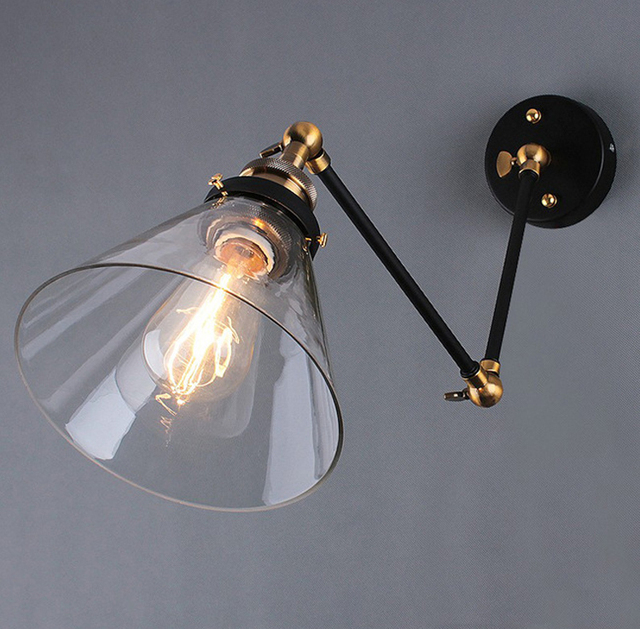 retro two swing arm wall lamp sconces glass shade baking finish rh restoration light fixture