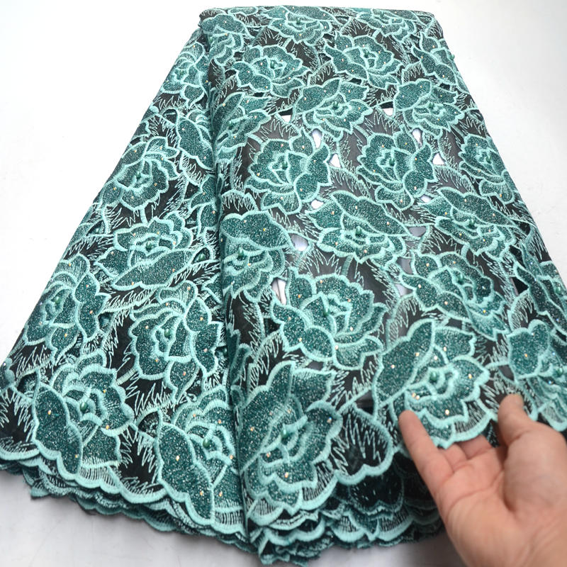 African Lace Fabric 2019 Big floral Embroidered Nigerian Laces Fabric High Quality French Tulle Lace Fabric