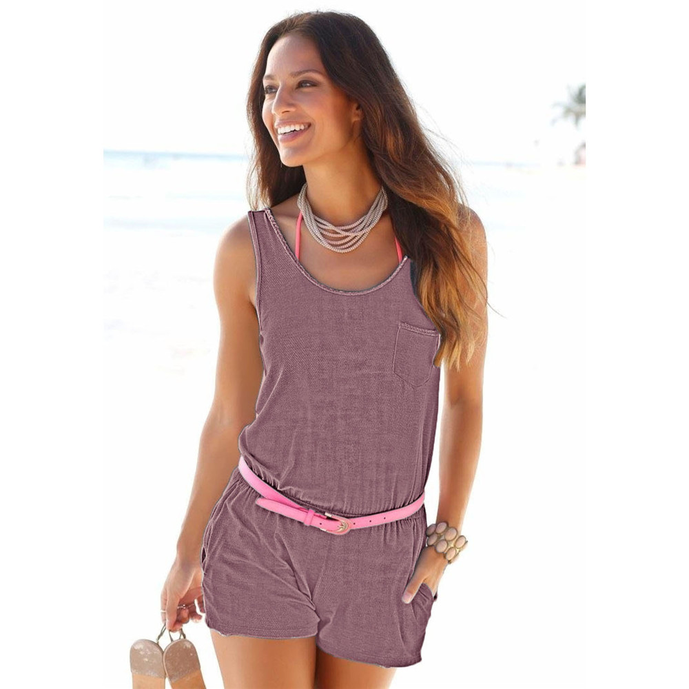 Rompers womens jumpsuit 2020 Summer Sleeveless Sexy Short Romper Beach femininity High Waist Playsuits One Piece Overalls