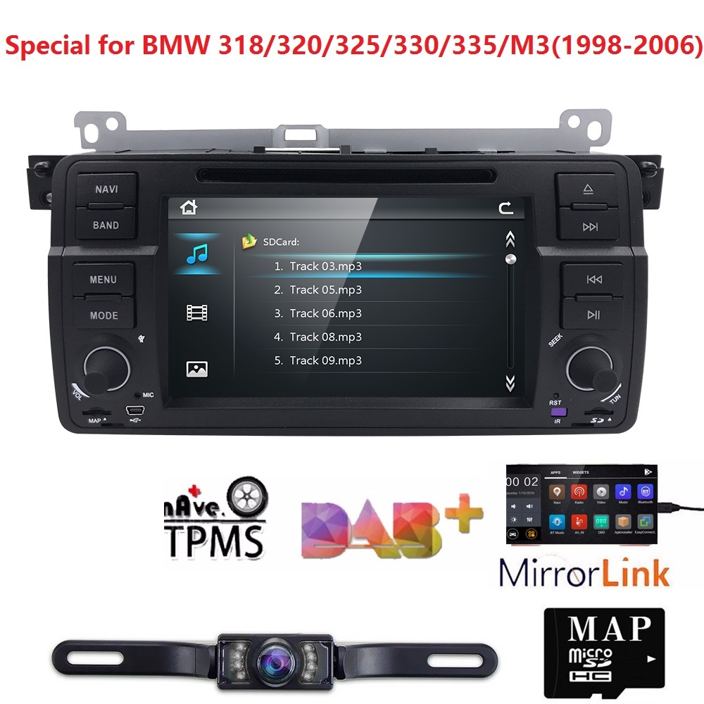 7inch Car DVD Player for BMW E46 M3 3Series MG Rover GPS CAR DVD Navigation 1 Din Support DAB+TPMS DTV SWC BT USB FM Free Camera