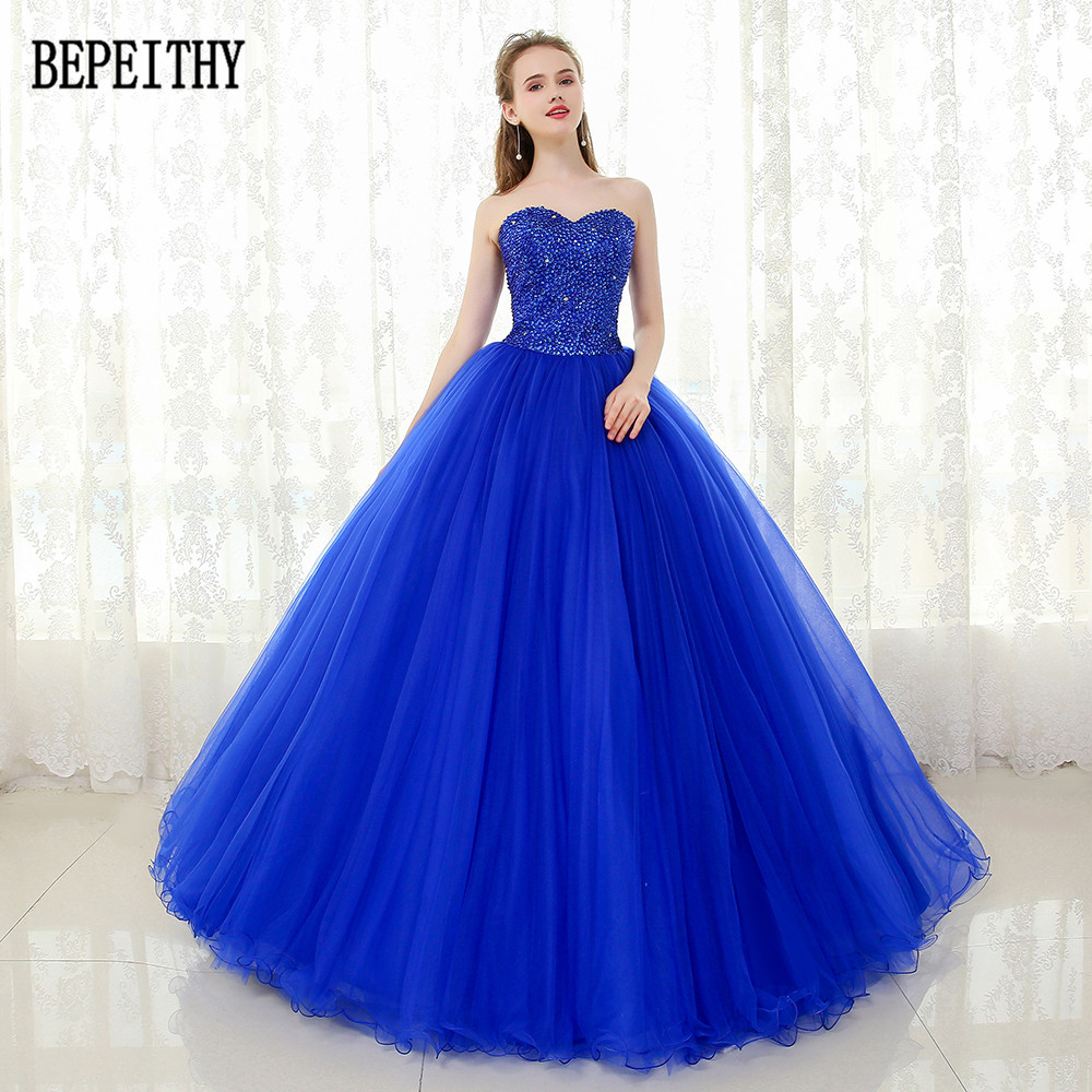 BEPEITHY 2019 Custom Made Sweetheart Tulle Floor Length Beads Sequins Ball Gown Royal Blue Quinceanera Dress Prom Dresses