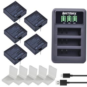 5 × 1400 mahバッテリ用オリジナルxiaomi yi ii xiami yi 4 k電池+ led usb 3スロット充電器xiaoyi yi liteアクションカメラ