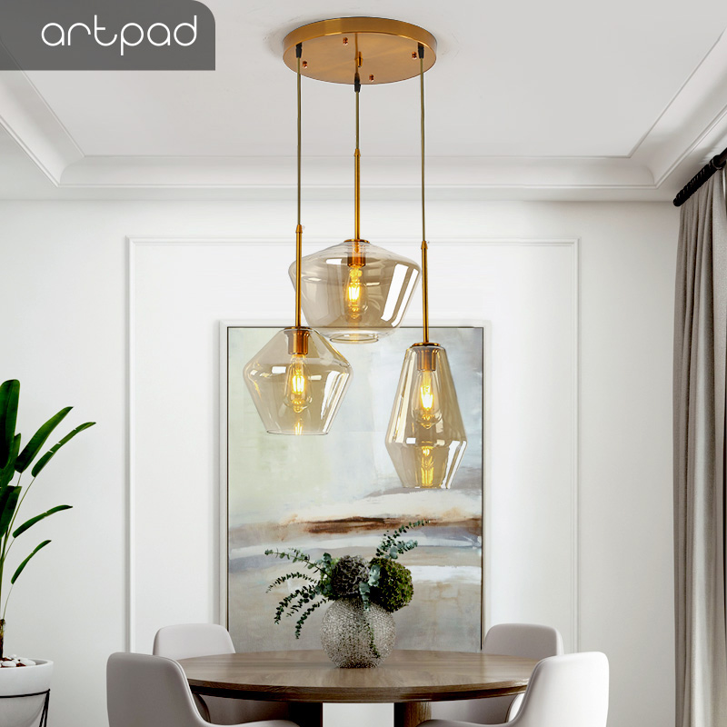 Artpad Single Three Heads Nordic Glass Pendant Lights Living Room Dining Room Kitchen Hanging Lamp Loft Modern Pendant Light Led