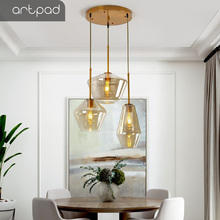 Artpad Single Three Heads Nordic Glass Pendant Lights Living Room Dining Room Kitchen Hanging Lamp Loft Modern Pendant Light Led стоимость