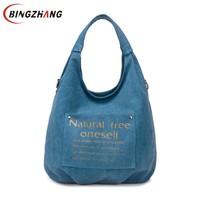 High Quality Canvas Women Bag Handbag Casual Large Capacity Hobos Female Totes Bolsas Vintage Solid Woman