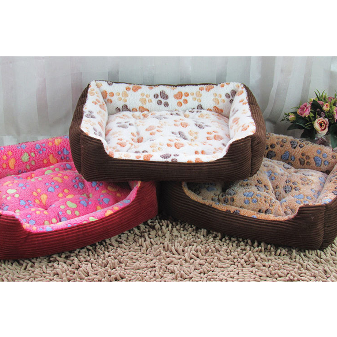 Bed For Dog Cat Corduroy Padded Waterproof Washable Pet House Mat Soft Sofa Kennel Dogs Cats House Dog beds For Large dogs image