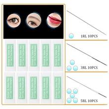 Professional Eyebrow Tattoo Needles 1.3.5RL Sterilize Permanent Makeup Machine Needle With 30Pcs Tips For Eyebrow Tattoo Machine