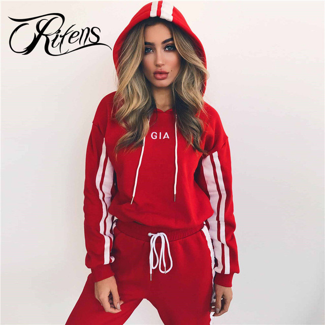 Urifens New 2018 Spring Tops And Pants Two Piece Set Short Hooded Tracksuit Women Strip Patchwork Letter Print Sport Suit QTZ01