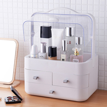 цены Extra large drawer type cosmetics storage box with cover dust-proof skin care products rack dressing table desktop finishing box