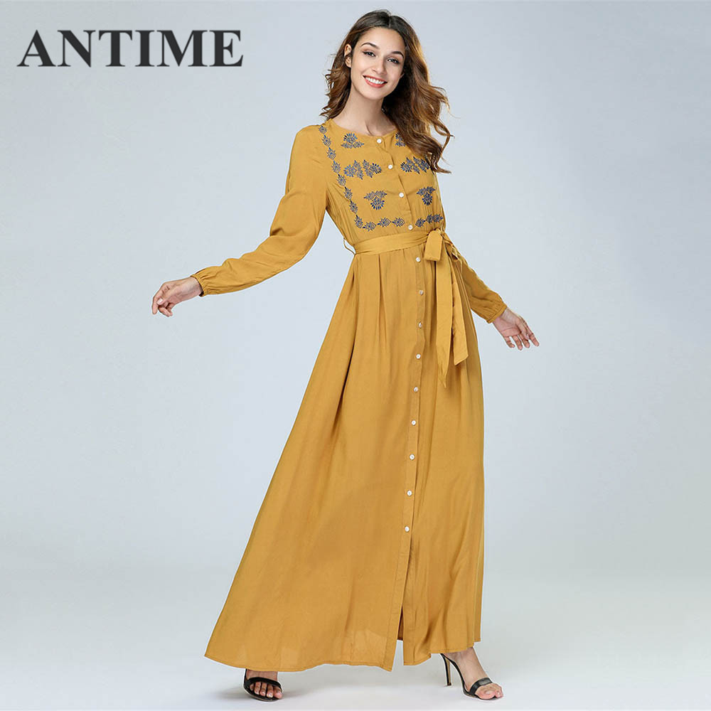 ANTIME Casual Maxi Dresses Women New Streetwear O-Neck Autumn Winter Button Sashes A-Line Long Sleeves Elegant Gold Dress 6