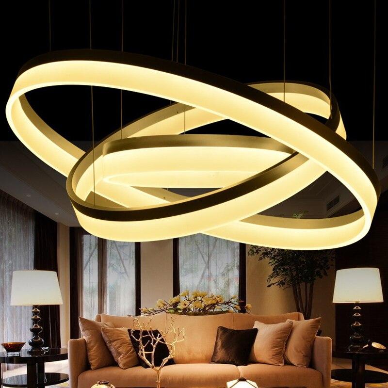 Современный подвесной светильник 3 Кольца Круг Подвеска подвесной светильник для ресторанов столовая СВЕТОДИОДНЫЕ блеск де Сала освещения